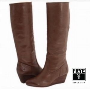 FRYE MISSY TALL BROWN LEATHER WEDGE BOOTS SIZE 8.5